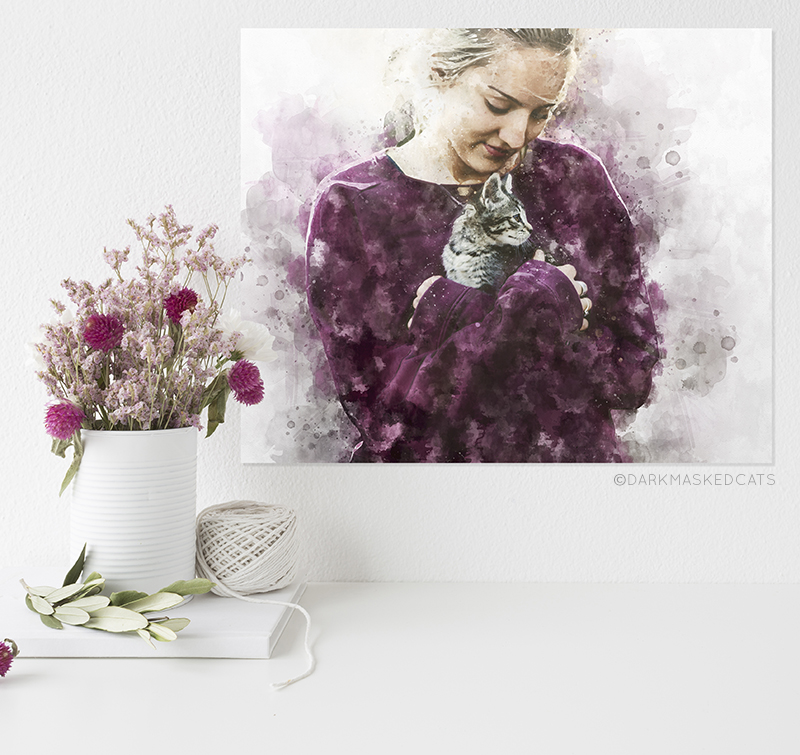 DarkMaskedCats - custom portrait girl with cat watercolor