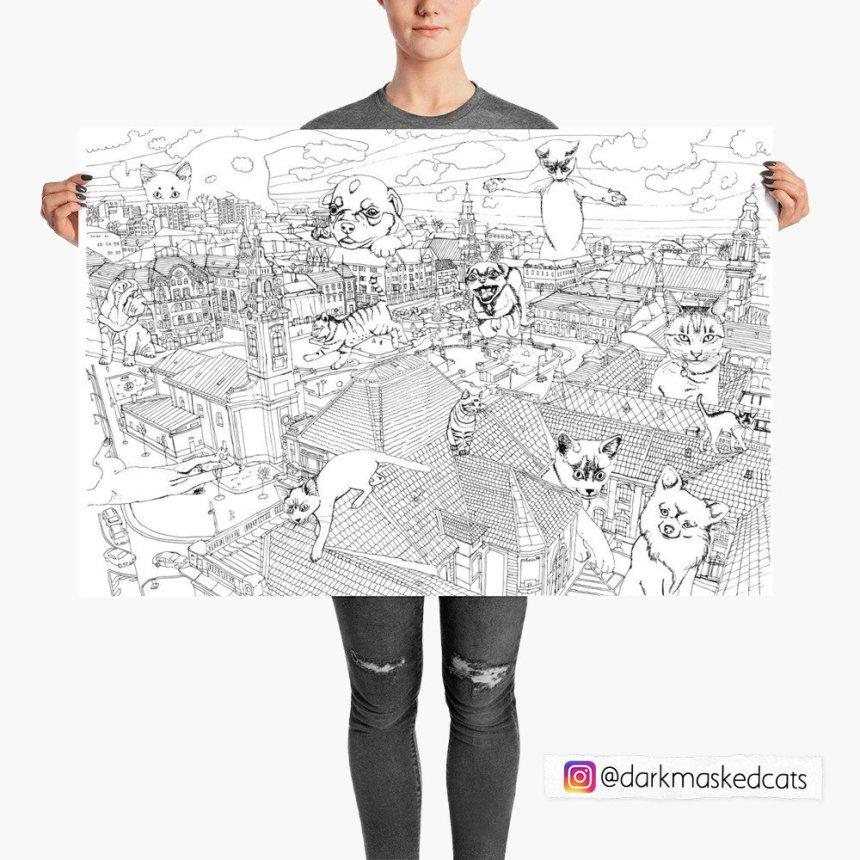 DarkMaskedCats- huge coloring page